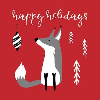 Biglietto di auguri con fox e iscrizione happy holidays.