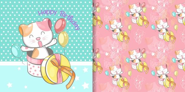 Biglietto di auguri con gatto carino e set di pattern senza soluzione di continuità