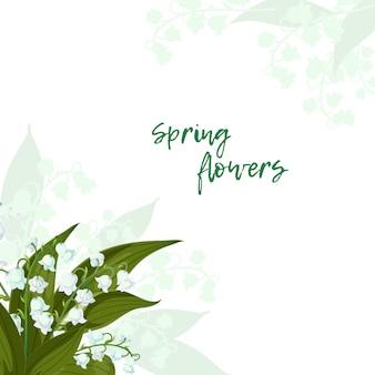 Biglietto di auguri con lilly of the valley con foglie verdi