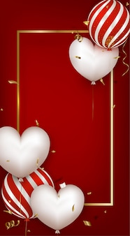 Biglietto di auguri con palloncini bianchi e palloncini a strisce rosse