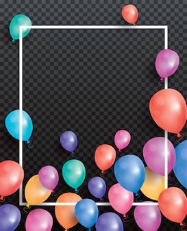 Biglietto di auguri con palloncini e cornice bianca su trasparente