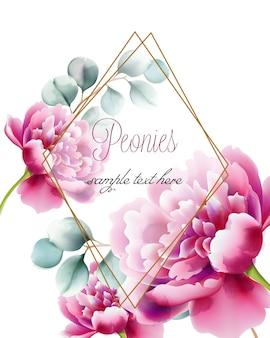 Biglietto di auguri con peonie rosa fiori e ramoscelli. posto per il testo in cornice di diamante