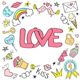 Biglietto di auguri con scritte in amore e scarabocchi girly disegnati a mano