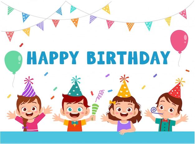Biglietto di auguri con simpatici bambini felici festeggia il compleanno