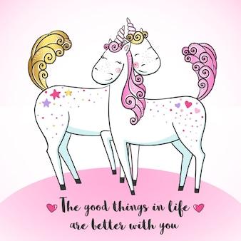 Biglietto di auguri con unicorni magici carini.