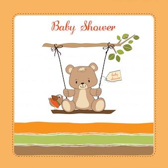 Biglietto di auguri del bambino con orsacchiotto