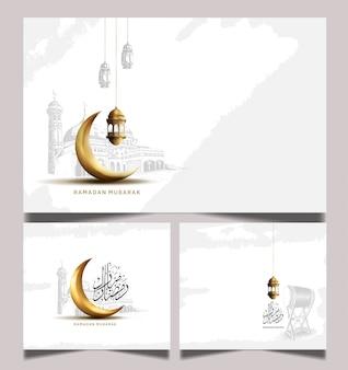 Biglietto di auguri del ramadan con falce di luna e la luna d'oro