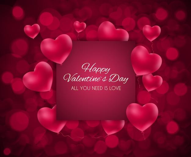 Biglietto di auguri di amore e sentimenti cuore san valentino