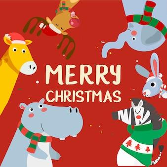 Biglietto di auguri di buon natale con tigre, coniglio, ippopotamo, giraffa e zebra. personaggio dei cartoni animati di vacanza carina