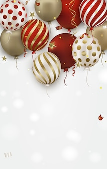 Biglietto di auguri di compleanno con oro, palloncini rossi 3d e coriandoli che cadono