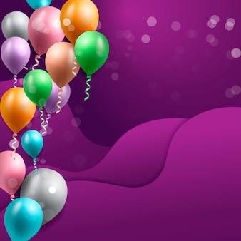 Biglietto di auguri di compleanno con palloncini