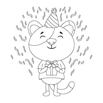 Biglietto di auguri di compleanno con un gatto