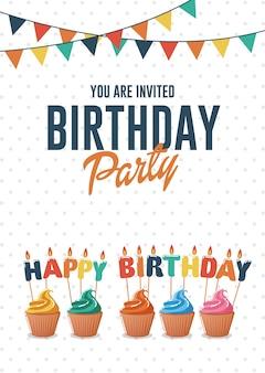 Biglietto di auguri di compleanno e carta di invito con cupcakes colorati