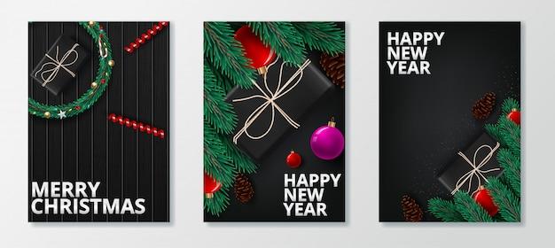 Biglietto di auguri di felice anno nuovo 2020 e buon natale.