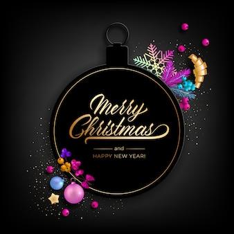 Biglietto di auguri di festa di buon natale con realistici oggetti colorati, decorato con palline di natale, stelle dorate, fiocchi di neve, nastri da festa