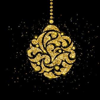 Biglietto di auguri di natale con decorazione palla d'oro