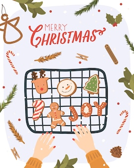 Biglietto di auguri di natale con elementi invernali. illustrazione disegnata a mano di inverno con i biscotti di natale.