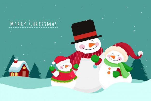 Biglietto di auguri di natale con la famiglia del pupazzo di neve. illustrazione vettoriale