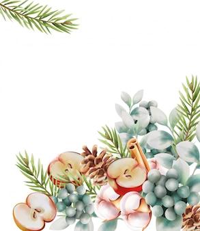 Biglietto di auguri di natale con ornamenti
