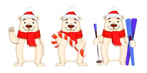 Biglietto di auguri di natale con orso polare