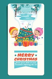 Biglietto di auguri di natale con personaggi dei cartoni animati