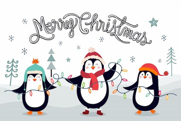 Biglietto di auguri di natale con pinguini