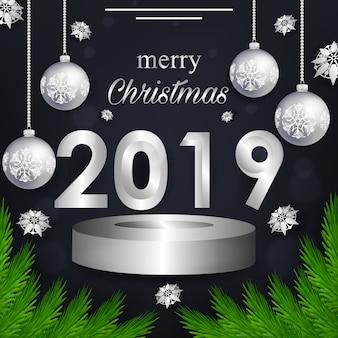 Biglietto di auguri di natale e 2019 nuovo anno