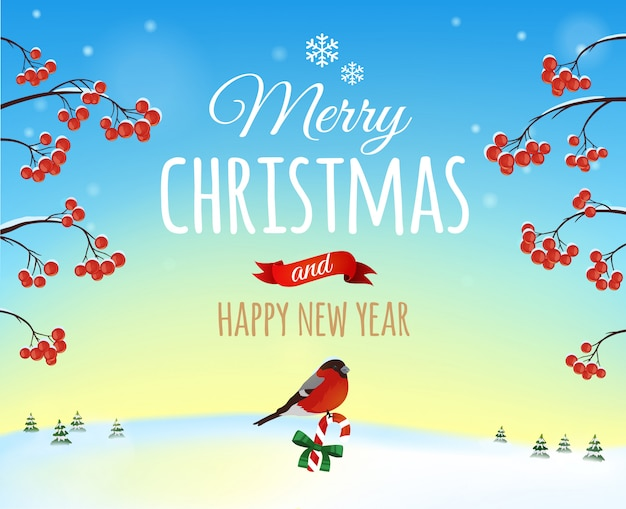 Biglietto di auguri di natale, poster. uccello del ciuffolotto sulla a di un paesaggio di inverno. . buon natale e felice anno nuovo