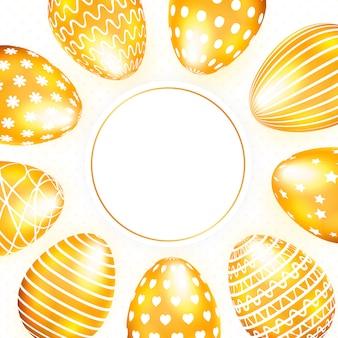 Biglietto di auguri di pasqua con uova d'oro e copia spazio.