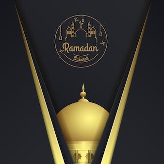Biglietto di auguri di ramadan kareem con la moschea