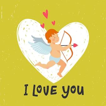 Biglietto di auguri di san valentino con divertente cupido con arco e freccia.