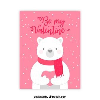 Biglietto di auguri di san valentino con orso polare