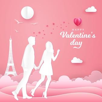 Biglietto di auguri di san valentino. coppia camminando e tenendosi per mano sul rosa