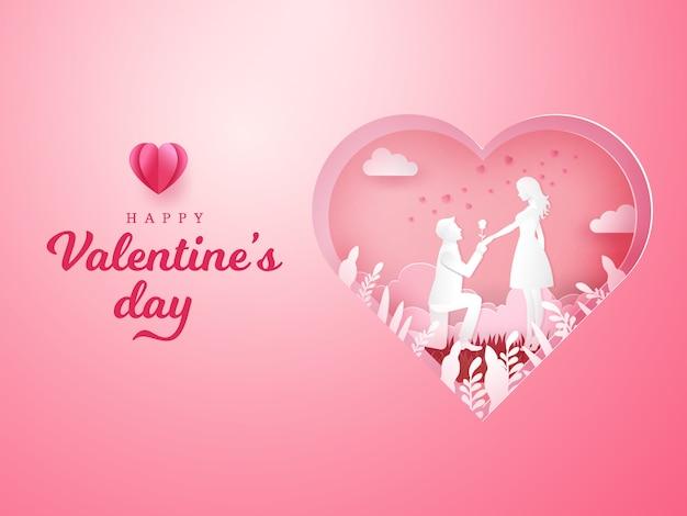 Biglietto di auguri di san valentino. giovane uomo inginocchiato alla sua ragazza e dando una rosa con cuore intagliato
