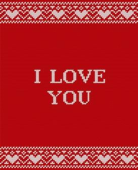 Biglietto di auguri di san valentino. knit. illustrazione.