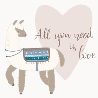 Biglietto di auguri di san valentino. lama carino con elementi disegnati a mano. tutto ciò di cui hai bisogno è l'amore.