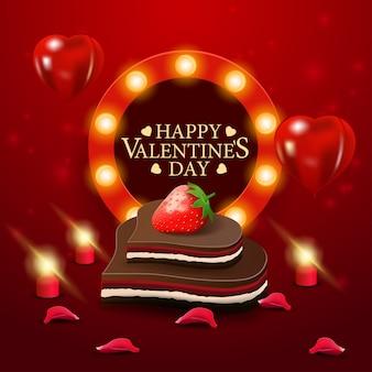 Biglietto di auguri di san valentino rosso con caramelle al cioccolato