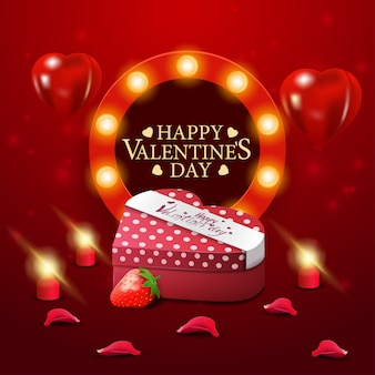Biglietto di auguri di san valentino rosso con scatola di cioccolatini