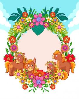 Biglietto di auguri di simpatici cavalli e fiori