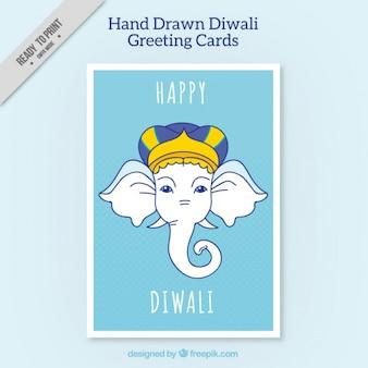 Biglietto di auguri diwali con l'elefante disegnato a mano