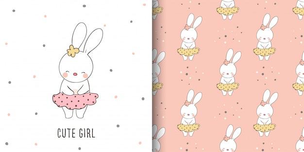 Biglietto di auguri e stampa modello di coniglio per bambino.