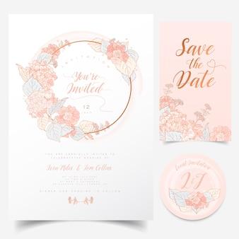 Biglietto di auguri floreale con ghirlanda di fiori di ortensia per invito a eventi