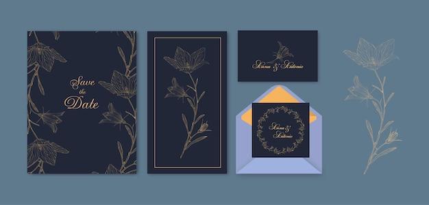 Biglietto di auguri floreale set con fiori roundbell blubell