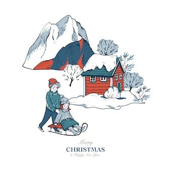 Biglietto di auguri in stile scandinavo di case rosse d'inverno ricoperte di neve, slittini, pattinaggio su una pista di pattinaggio