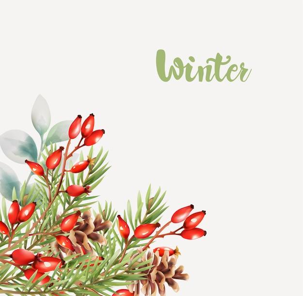 Biglietto di auguri invernale con fiori e bacche