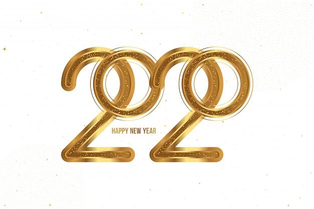 Biglietto di auguri per felice anno nuovo con segno dorato 2020 sfondo bianco.