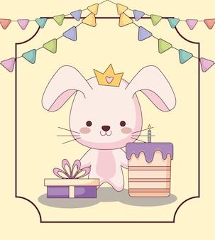 Biglietto di auguri per il compleanno felice coniglio carino con torta e icone