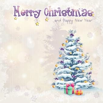 Biglietto di auguri per il natale e il nuovo anno con un albero di natale e regali