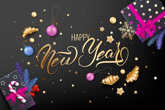 Biglietto di auguri per le feste di buon natale con realistici oggetti colorati, decorato con palline di natale, stelle dorate, fiocchi di neve, nastri da arricciatura e confezione regalo