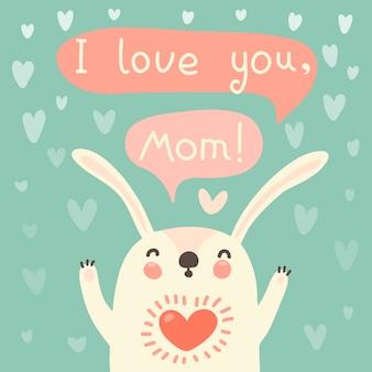 Biglietto di auguri per mamma con coniglio carino.